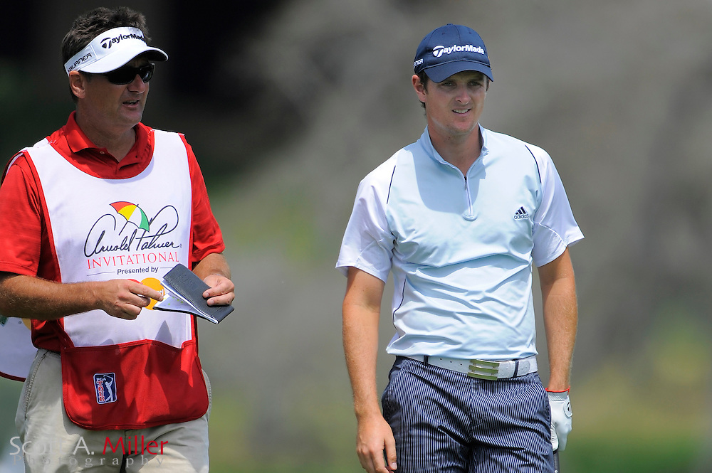 March 26, 2009; Orlando, FL, USA;  Justin Rose and his caddie discuss a tee shot on the 16th hole during the first round of the Arnold Palmer Invitational at the Bay Hill Club and Lodge. ©2009 Scott A. Miller