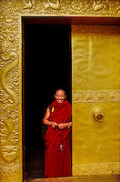 Monk in doorway at the Punakha Dzong, Punakha Valley, Bhutan