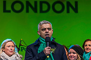 Mayor of London, Sadiq Khan speaks in Trafalgar Square in front of Leading London Irish Women -  the London St Patrick's Day parade from Piccadilly to Trafalgar Square.