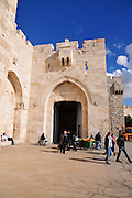 Israel, Jerusalem, Old city Jaffa gate square outside the walls near the David citadel