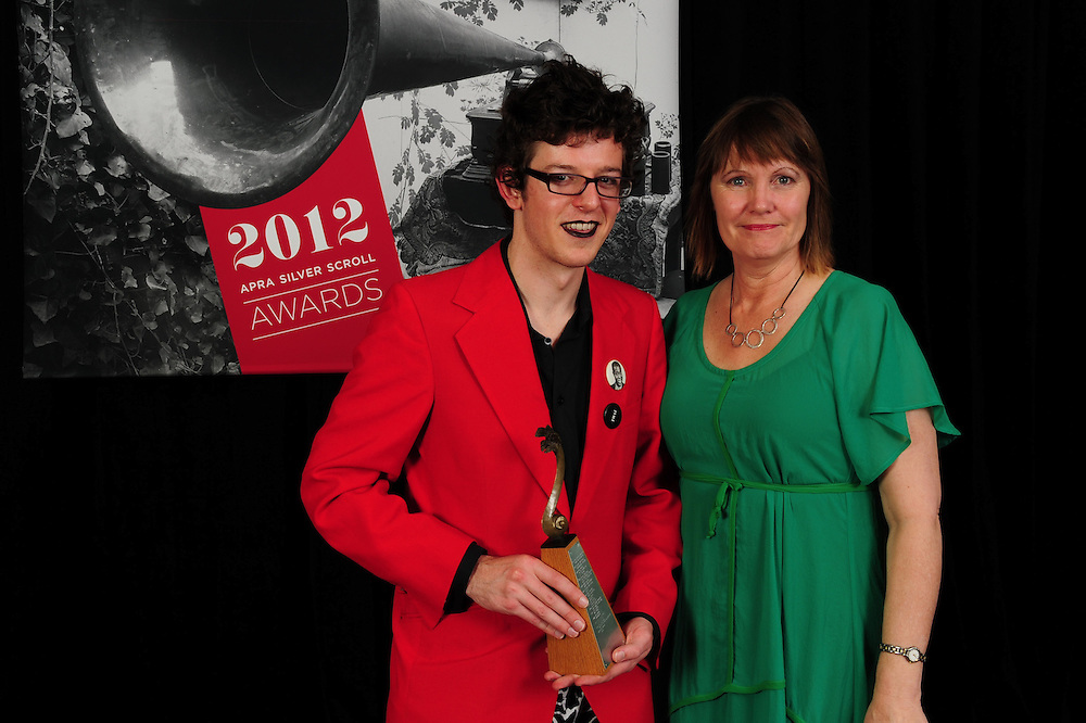 Alex Taylor, winner of the Sounz Contemporary Award, and Julie Sperring at the APRA Silver Scroll Awards 2012. Auckland Town Hall. 13 September 2012.
