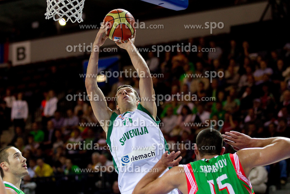 of Slovenia during basketball match between National teams of Slovenia and Bulgaria in Group D of Preliminary Round of Eurobasket Lithuania 2011, on August 31, 2011, in Arena Svyturio, Klaipeda, Lithuania.  (Photo by Vid Ponikvar / Sportida)