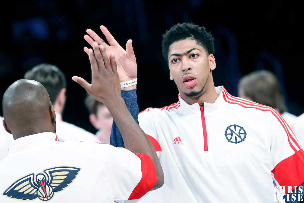 01 April 2015: New Orleans Pelicans forward Anthony Davis (23) is seen during the players introduction prior to the New Orleans Pelicans 113-92 victory over the Los Angeles Lakers , at the Staples Center, Los Angeles, California, USA.