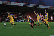 Billy Waters break the offside trap during the Vanarama National League match between Cheltenham Town and Chester City at Whaddon Road, Cheltenham, England on 5 December 2015. Photo by Antony Thompson.