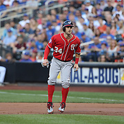 Bryce Harper, Washington Nationals, on first base during the New York Mets Vs Washington Nationals, MLB regular season baseball game at Citi Field, Queens, New York. USA. 1st August 2015. (Tim Clayton for New York Daily News)