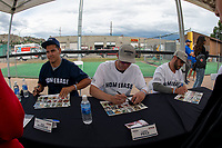 KELOWNA, CANADA - JUNE 28:  Rene Bourque #21 of Team Comeau, sits next to Carey Price #31 and Brian Gionta #12 of Team Gorges during an autograph signing prior to the opening celebrity game of the Home Base Slo-Pitch Tournament on June 28, 2019 at Elk's Stadium in Kelowna, British Columbia, Canada.  (Photo by Marissa Baecker/Shoot the Breeze)