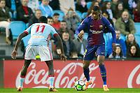 RC Celta de Vigo's Pione Sisto (l) and FC Barcelona's Nelson Semedo during La Liga match. April 17,2018. (ALTERPHOTOS/Acero)