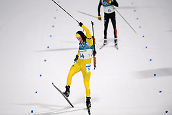 February 12, 2018 - Pyeongchang, SOUTH KOREA - 180212  Sebastian Samuelsson of Sweden celebrates his silver medal Men's Biathlon 12,5km Pursuit during day three of the 2018 Winter Olympics on February 12, 2018 in Pyeongchang..Photo: Jon Olav Nesvold / BILDBYRN / kod JE / 160157 (Credit Image: © Jon Olav Nesvold/Bildbyran via ZUMA Press)