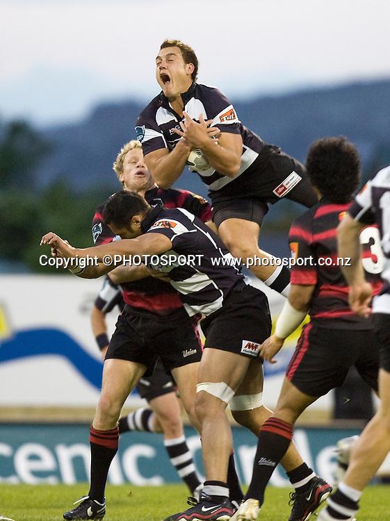 Isreal Dagg climbs high to gather the ball. Air NZ Cup, Semi-final. Canterbury v Hawkes Bay at AMI Stadium, Christchurch, New Zealand. 18 October 2008 Photo: Joseph Johnson/PHOTOSPORT