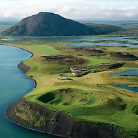 Vindbelgur og Vindbelgjarfjall séð til vesturs, Skútustaðahreppur. / Vindbelgur  and mount Vindbelgjarfjall viewing west, Skutustadahreppur.