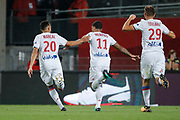 Memphis DEPAY (Olympique Lyonnais) scored a goal and celebrated it with Fernando Marcal de Oliveira (Olympique Lyonnais) and Lucas TOUSART (Olympique Lyonnais) during the French championship L1 football match between Rennes v Lyon, on August 11, 2017 at Roazhon Park stadium in Rennes, France - Photo Stephane Allaman / ProSportsImages / DPPI