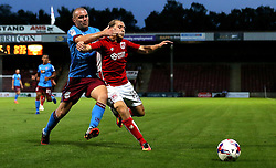 Luke Freeman of Bristol City battles for the ball with Stephen Dawson of Scunthorpe United - Mandatory by-line: Robbie Stephenson/JMP - 23/08/2016 - FOOTBALL - Glanford Park - Scunthorpe, England - Scunthorpe United v Bristol City - EFL Cup second round