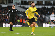 Millwall striker Tom Bradshaw (9) scores and celebrates during the EFL Sky Bet Championship match between Derby County and Millwall at the Pride Park, Derby, England on 14 December 2019.