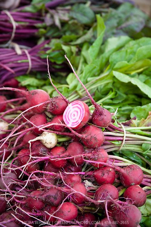 Candy-striped Chiogga 'Guardsmark' Beets  at a farmers' market. ( aka 'Guardsman')
