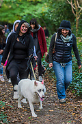 Mischa, a husky, with Ika on the walk on Hampstead Heath - A charity Halloween Dog Walk and Fancy Dress Show organised by All Dogs Matter at the Spaniards Inn, Hampstead. London 29 Oct 2017.