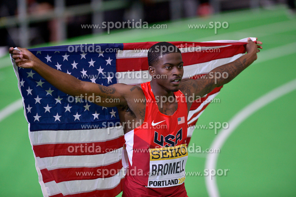Trayvon Bromell of the United States celebrates after winning the men's 60 metres final during day two of the IAAF World Indoor Championships at Oregon Convention Center in Portland, Oregon, the United States, on March 18, 2016. EXPA Pictures &copy; 2016, PhotoCredit: EXPA/ Photoshot/ Yin Bogu<br /> <br /> *****ATTENTION - for AUT, SLO, CRO, SRB, BIH, MAZ, SUI only*****