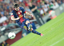Lionel Messi takes a free kick for Barcelona.  Barcelona v Real Madrid, Supercopa first leg, Camp Nou, Barcelona, 23rd August 2012...Credit - Eoin Mundow/Cleva Media.