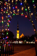 Fairy lights decorate Marion Square Charleston, SC for Christmas. The steeple of the Citadel Square Baptist Church is in the background. (photo by Charleston SC photographer Richard Ellis)