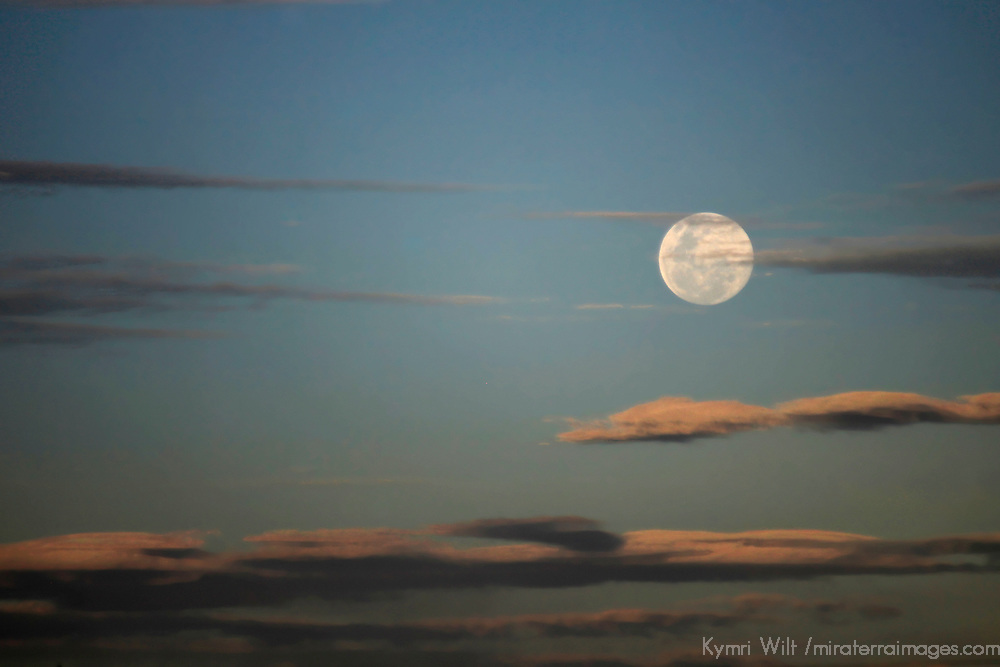South America, Peru, Laka Titicaca. The Super Moon of June, 2013, in the skies above Lake Titicaca, Peru.