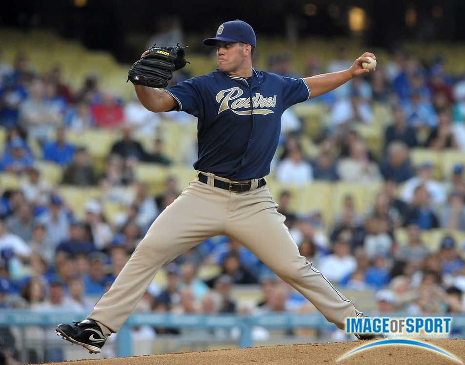 Aug 2, 2010; Los Angeles, CA, USA; San Diego Padres starter Clayton Richard (33) pitches during the game against the Los Angeles Dodgers at Dodger Stadium. Photo by Image of Sport
