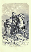 Bronze Age warriors according to the French illustrator Emile Bayard (1837-1891), illustration Artwork published in Primitive Man by Louis Figuier (1819-1894), Published in London by Chapman and Hall 193 Piccadilly in 1870