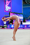 Sales Laura during qualifying at ball in Pesaro World Cup 13 April, 2018. Laura is a Portuguese gymnast born in 2000.
