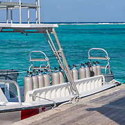 Scuba diving boat and diving tanks. East End, Grand Cayman
