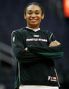Seattle Storm forward Iziane Castro Marques during warmups before their WNBA game against the Mystics at the Verizon Center in Washington, DC. The Storm won 73-71.  July 23, 2006  (Photo by Mark W. Sutton)