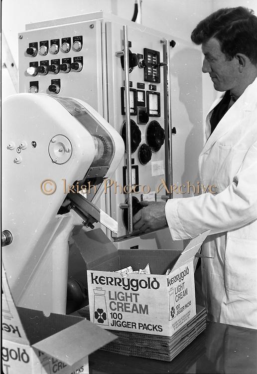 08/06/1967<br /> 06/08/1967<br /> 08 June 1967<br /> Killeshandra Co-Operative Creamery Ltd., Co. Cavan,  producing Kerrygold Jigger Cream packs. Image shows a Tetra Pak machine used to package the cream.