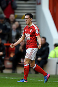 Nottingham Forest forward Zach Clough (16) celebrates after Forest score making it 2-0 during the EFL Sky Bet Championship match between Nottingham Forest and Brighton and Hove Albion at the City Ground, Nottingham, England on 4 March 2017. Photo by Jon Hobley.