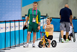 Grant Patterson of Australia after competed during the Men's 50m Backstroke S3 Heat 1  during Swimming competition during Day 10 of the Summer Paralympic Games London 2012 on September 7, 2012, in  Aquatics centre, London, Great Britain. (Photo by Vid Ponikvar / Sportida.com)