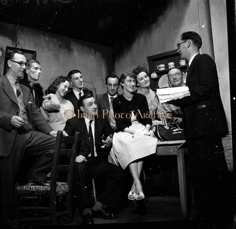 "25/05/1959<br /> 05/25/1959<br /> 25 May 1959 <br /> The cast of the play ""Sive"" from the Listowel Drama group at rehearsal the Abbey Theatre (Queen's Theatre Pearse Street), The group had won the The All Ireland Drama Festival, sponsored by Esso in Athlone. On right is producer Brendan Carroll."