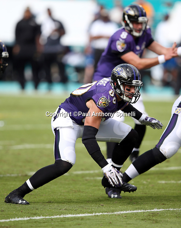 Baltimore Ravens tight end Crockett Gillmore (80) goes out for a pass during the 2015 week 13 regular season NFL football game against the Miami Dolphins on Sunday, Dec. 6, 2015 in Miami Gardens, Fla. The Dolphins won the game 15-13. (©Paul Anthony Spinelli)