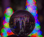 Holiday lights, christmas lights, bokah, crystal ball