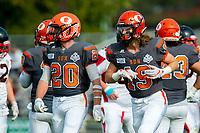 KELOWNA, BC - OCTOBER 6:  Tyler Going #20 and Cole Stregger #19 of Okanagan Sun run off the field during  BCFC regular season at the Apple Bowl on October 6, 2019 in Kelowna, Canada. (Photo by Marissa Baecker/Shoot the Breeze)