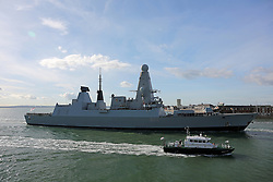 © under license to London News Pictures.  30/10/2012 HMS DAUNTLESS RETURNS TO PORTSMOUTH FROM HER MAIDEN 7 MONTH DEPLOYMENT. Picture credit should read: Bryan Moffat/London News Pictures