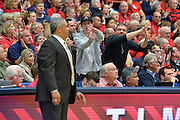December 11, 2013: A pair of Arizona Wildcats fans signal for a technical foul to be called against New Mexico State Aggies head coach Marvin Menzies in a game between No. 1 Arizona and New Mexico State at McKale Center in Tucson, Ariz. Arizona defeated New Mexico State 74-48.