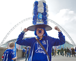 LONDON, ENGLAND - Saturday, April 14, 2012: Katie from Rice Lane, Walton with a decorative Everton hat walks up Wembley Way to watch the 218th Merseyside Derby, the FA Cup Semi-Final, at Wembley. (Pic by David Rawcliffe/Propaganda)