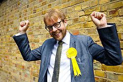 © Licensed to London News Pictures. 31/05/2017. London, UK. Liberal Democrats candidate for Vauxhall, GEORGE TURNER is at a new poster launch in Kennington, London, attacking Prime Minister Theresa May's decision to scrap free school lunches and replace them breakfasts cost at just 7p each. Photo credit: Tolga Akmen/LNP