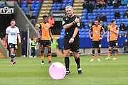 Referee Mr Graham Scott clears the pitch during the Sky Bet Championship match between Bolton Wanderers and Hull City at the Macron Stadium, Bolton, England on 30 April 2016. Photo by Mark Pollitt.