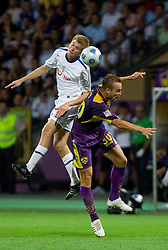 Florian Stahel of Zurich vs Dalibor Volas of Maribor at Third Round of Champions League qualifications football match between NK Maribor and FC Zurich,  on August 05, 2009, in Ljudski vrt , Maribor, Slovenia. Zurich won 3:0 and qualified to next Round. (Photo by Vid Ponikvar / Sportida)
