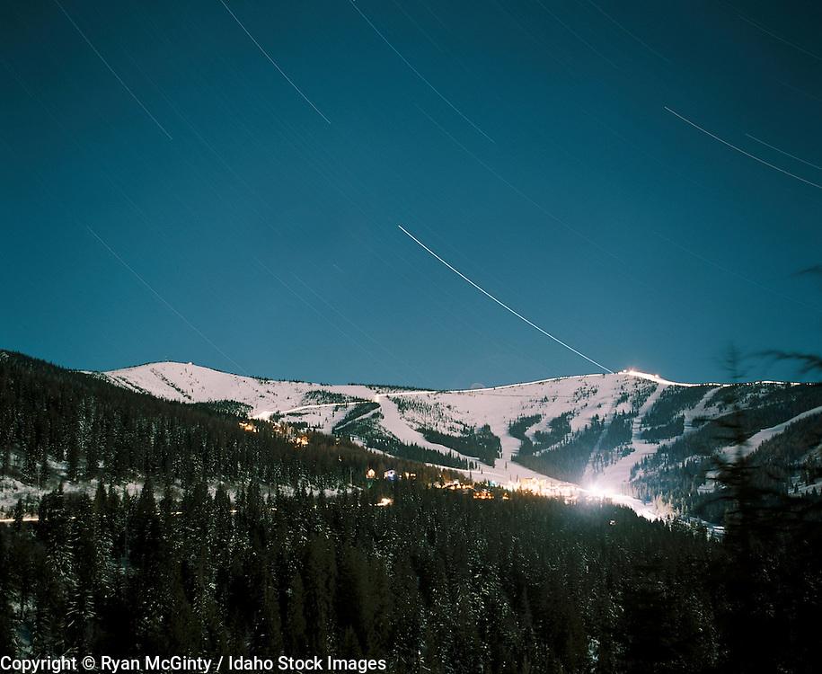 IDAHO. Sandpoint. Schweitzer Ski Resort at night with stars trailing over head. #schweitzerstars