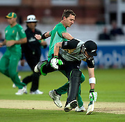 Bowler Dale Steyn fails to run out Brendon McCullum during the ICC World Twenty20 Cup match between South Africa and New Zealand at Lord's. Photo © Graham Morris (Tel: +44(0)20 8969 4192 Email: sales@cricketpix.com)