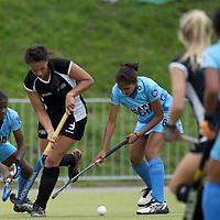 MONCHENGLADBACH - Junior World Cup<br /> Pool C: New Zealand - India<br /> photo: Rose Kedell (black) and Monika (blue).<br /> COPYRIGHT FRANK UIJLENBROEK FFU PRESS AGENCY