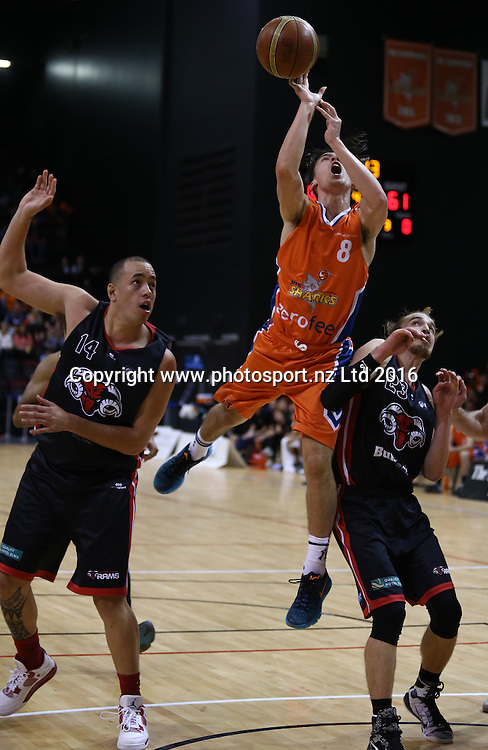 Derone Raukawa of the Sharks takes a shot in the NBL basketball match between the Southland Sharks and Canterbury Rams, ILT Stadium Southland, Invercargill, Saturday, April 16, 2016. Photo: Dianne Manson / www.photosport.nz