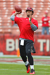 Oct 9, 2011; San Francisco, CA, USA; Tampa Bay Buccaneers quarterback Josh Freeman (5) warms up before the game against the San Francisco 49ers at Candlestick Park. Mandatory Credit: Jason O. Watson-US PRESSWIRE