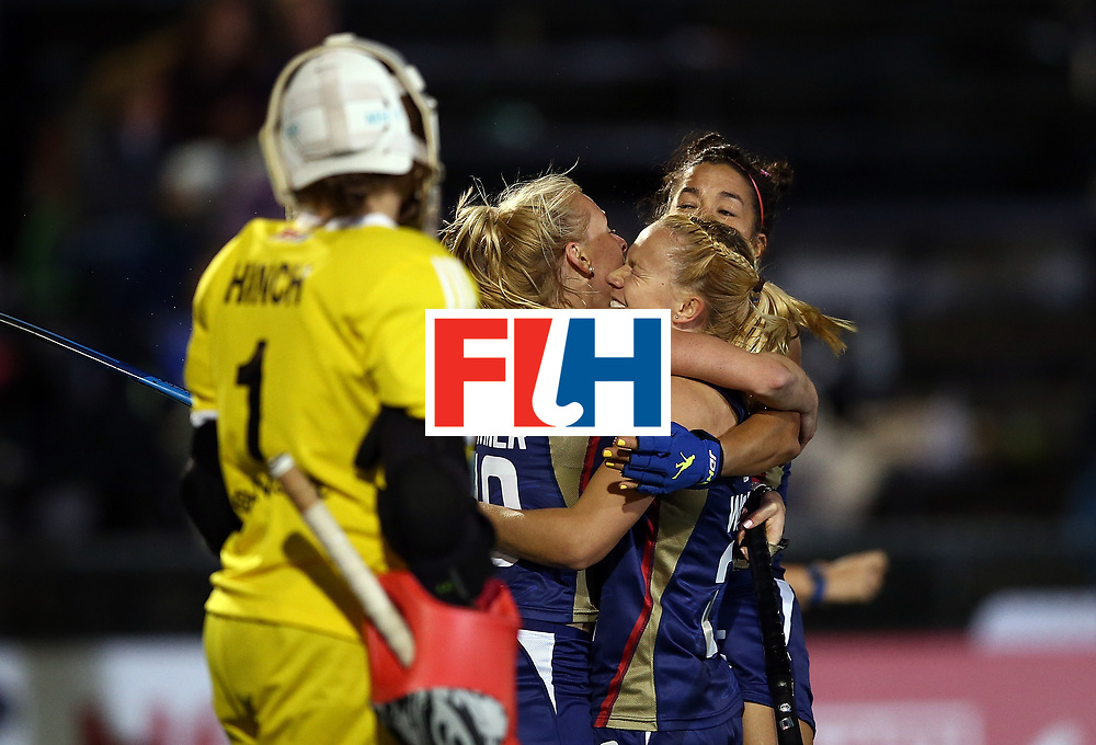 JOHANNESBURG, SOUTH AFRICA - JULY 20:  Jill Witmer of United States of America celebrates scoring her goal with bteam mates during day 7 of the FIH Hockey World League Women's Semi Finals semi final match between England and United Staes of America at Wits University on July 20, 2017 in Johannesburg, South Africa.  (Photo by Jan Kruger/Getty Images for FIH)