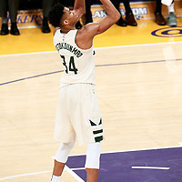 30 March 2018: Milwaukee Bucks forward Giannis Antetokounmpo (34) is seen at the free throw line during the Milwaukee Bucks 124-122 victory over the LA Lakers, at the Staples Center, Los Angeles, California, USA.