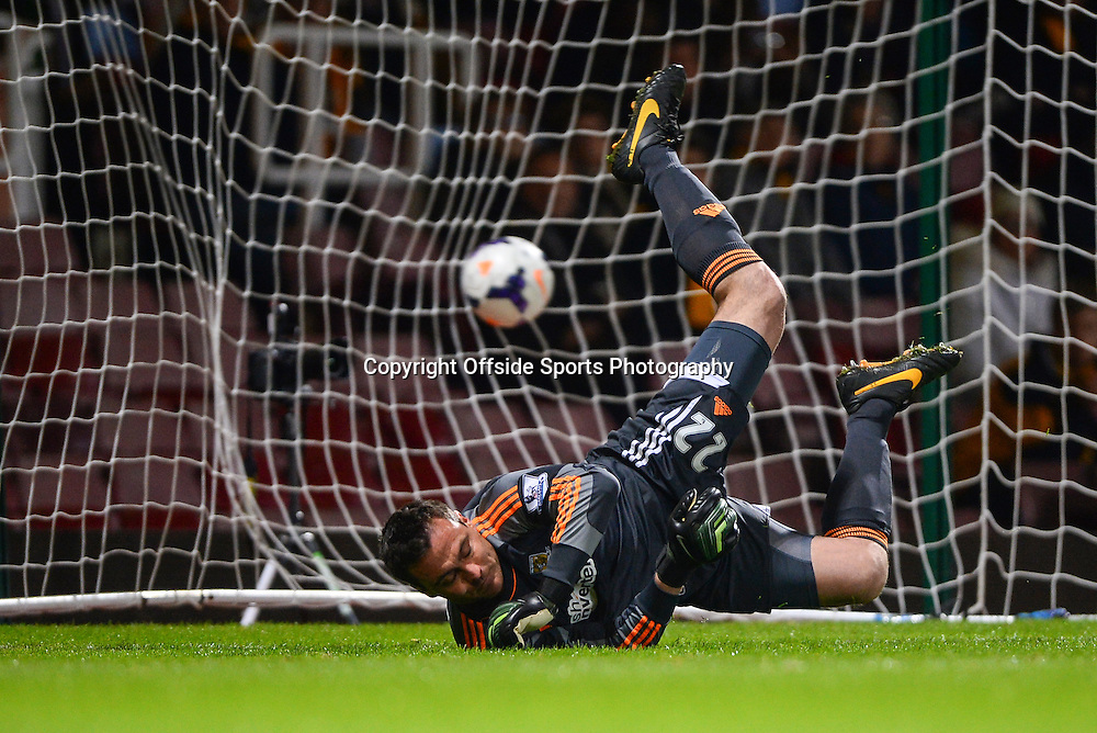 26 March 2014 - Barclays Premier League - West Ham United v Hull City - Steve Harper of Hull City fails to save the penalty from Mark Noble of West Ham United after coming on to replace Allan Mcgregor - Photo: Marc Atkins / Offside.