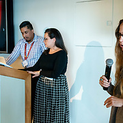 APRIL 25, 2018--MIAMI, FLORIDA<br /> Artist Felice Grodin, whose exhibition Invasive Species was showcased, and Rafael Sotolongo, PAMM, IT Director along with Monica Mesa, PAMM, AR + Art project manager<br /> takes part in her group's presentation as part of Arts and Technology exploration of new ways to connect people to art, at the Perez Art Museum Miami.<br /> (PHOTO BY ANGELVALENTIN/FREELANCE)